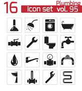 Vector black  plumbing  icons set - stock illustration