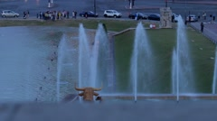 PARIS: Water cannons of the fountain in Trocadero and Eiffel Tower, vertical pan Stock Footage