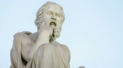 Closeup Marble Statue of the Ancient Greek Philosopher Socrates Stock Footage