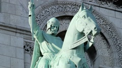 FRANCE, PARIS: Beautiful architecture and sculpture, rider on horse, Montmartre Stock Footage