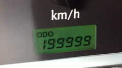 Digital odometer mileage of two hundred thousand Stock Footage