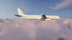 Passenger airliner flying above cumulus clouds 4K animation Stock Footage