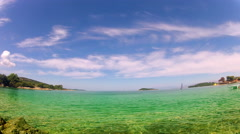 Ionian sea and Corfu island in Greece, timelapse of green tuquise water and b Stock Footage