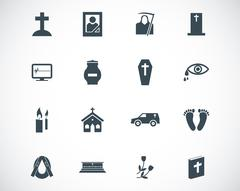 Vector black  funeral icons set - stock illustration