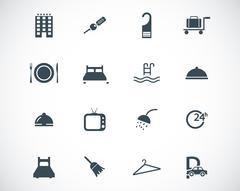 Vector black  hotel icons set Stock Illustration