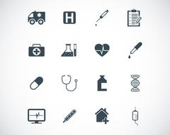 Vector black  medical icons set - stock illustration