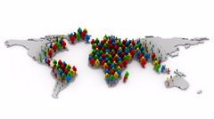 People Form a Map of the World Stock Footage