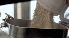 Farmer pours grain into the tank Stock Footage