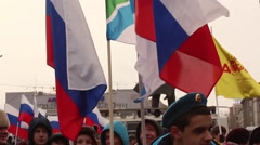 Russia, Novosibirsk, March 18, 2016. The rally in the square. Stock Footage