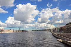Neva river in St. Petersburg, sunny summer day Stock Photos