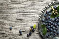 Blueberry fruits on plate Stock Photos