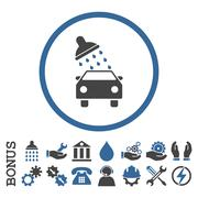 Car Wash Flat Rounded Vector Icon With Bonus Stock Illustration