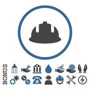 Construction Helmet Flat Rounded Vector Icon With Bonus - stock illustration