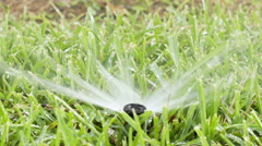 Slow motion lawn sprinkler in grass Stock Footage