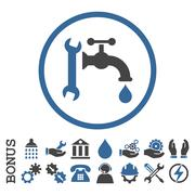 Plumbing Flat Rounded Vector Icon With Bonus - stock illustration