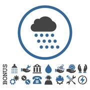 Rain Cloud Flat Rounded Vector Icon With Bonus Stock Illustration