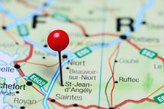 St-Jean-d Angely pinned on a map of France Stock Photos