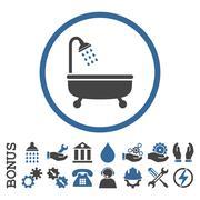 Shower Bath Flat Rounded Vector Icon With Bonus - stock illustration