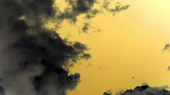 Timelapse Clouds Sky Flowing Grey on Yellow Orange Background Stock Footage
