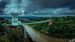 Clifton Bridge during storm Stock Photos