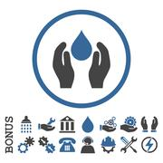 Water Care Flat Rounded Vector Icon With Bonus - stock illustration