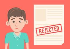 Rejected paper document. Cartoon Vector illustration Stock Illustration