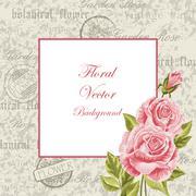 Vintage frame with flowers - stock illustration