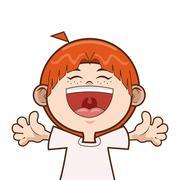 Happy kid boy smiling Stock Illustration