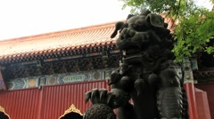 People visit the Yonghe temple in Beijing, China. Stock Footage