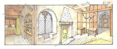 Gothic interior - stock illustration