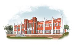 Facade of a red brick mansion Stock Illustration