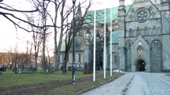 Facade of the Nidaros cathedral in Trondheim, Norway Stock Footage