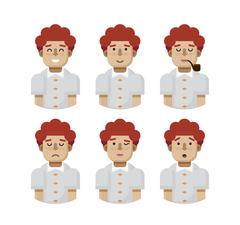 Illustration set male avatars, avatar with wide smile Stock Illustration