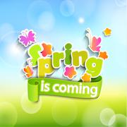 Spring is coming on the bokeh background. Stock Illustration