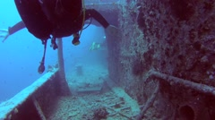Scuba diver inside the wreck of the SS Thistlegorm  Stock Footage