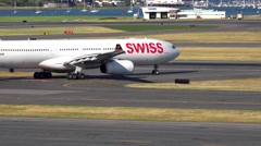 Swiss International Airlines, airport runway Stock Footage
