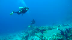 Two scuba divers with a coral reef - stock footage
