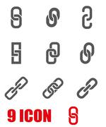 Vector grey chain or link icon set Stock Illustration