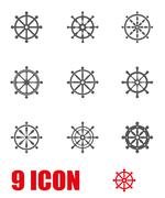 Vector grey rudder icon set Stock Illustration