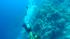 Three scuba divers with a coral reef Stock Footage