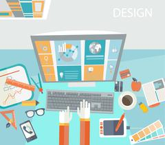 Concept of creative office workspace. Stock Illustration