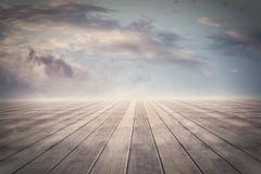 Parquet floor under clouds - stock photo