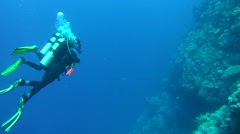 Two scuba divers with a coral reef Stock Footage