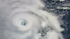 The hurricane,  tornado,  over the ocean, satellite view. Stock Footage