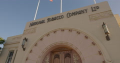 Tobacco Art Deco building in napier, New Zealand Stock Footage