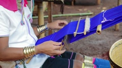 Padaung woman doing handmade scarfs near Loikaw Stock Footage