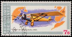Ancient plane Spirit Of Saint-Louis (1927) on postage stamp - stock photo