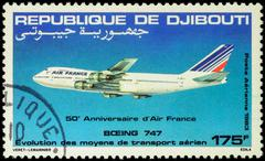 Airliner Boeing 747-200 on postage stamp Stock Photos