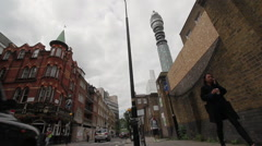 Real time of BT tower,  seen from Cleveland Street London Stock Footage
