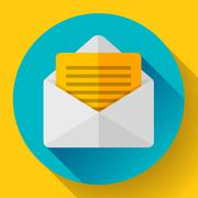Open Envelope Mail Icon new letter message notification Flat 2.0 design style. - stock illustration